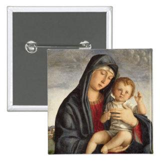 Madonna y niño (aceite en el panel) 2 pin cuadrado