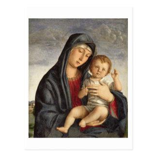 Madonna y niño (aceite en el panel) 2 tarjeta postal
