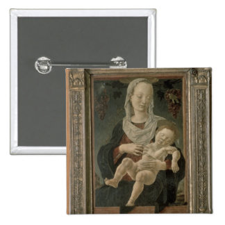Madonna y niño (aceite en el panel) pin cuadrado