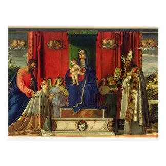 Madonna y niño (Altarpiece de Barbarigo) 1488 Tarjetas Postales