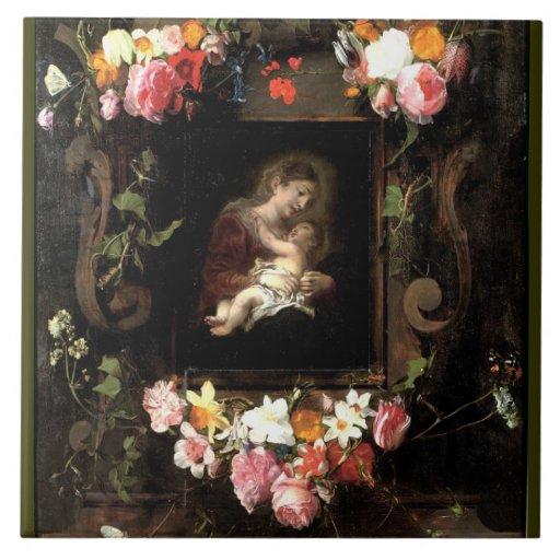 Madonna y niño azulejo cuadrado grande