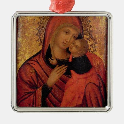 Madonna y niño, c.1650 (el panel) adorno navideño cuadrado de metal