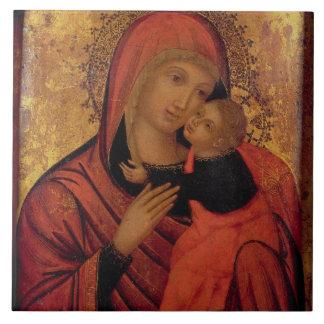 Madonna y niño c 1650 el panel tejas
