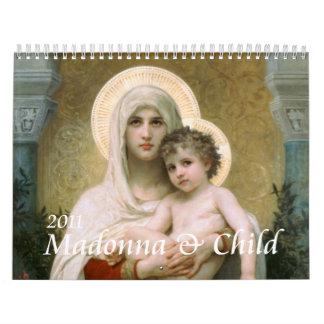 Madonna y niño calendario de pared