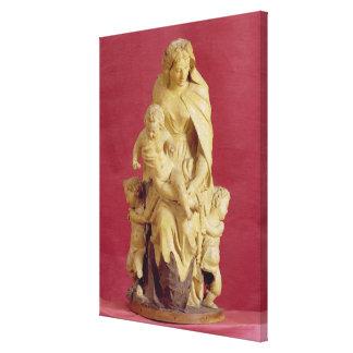Madonna y niño (cartón piedra) impresión en tela