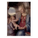 Madonna y niño con ángel por Fra Lippo Lippi Postales
