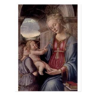 Madonna y niño con ángel por Fra Lippo Lippi Tarjeta Postal