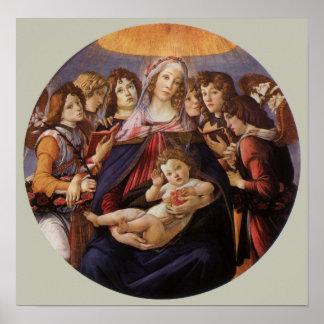 Madonna y niño con ángeles de Sandro Botticelli Posters