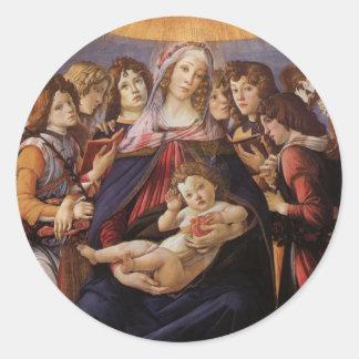 Madonna y niño con ángeles de Sandro Botticelli Etiqueta Redonda