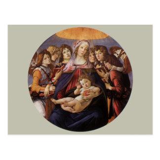 Madonna y niño con ángeles de Sandro Botticelli Tarjetas Postales