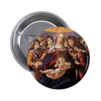 Madonna y niño con ángeles por Botticelli Chapa Redonda 5 Cm
