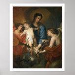 Madonna y niño con ángeles posters