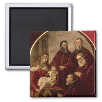 Madonna y niño con cuatro estadistas imán cuadrado