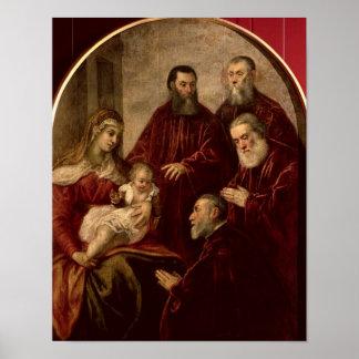 Madonna y niño con cuatro estadistas impresiones
