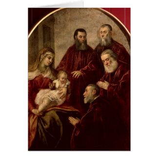 Madonna y niño con cuatro estadistas tarjeta de felicitación