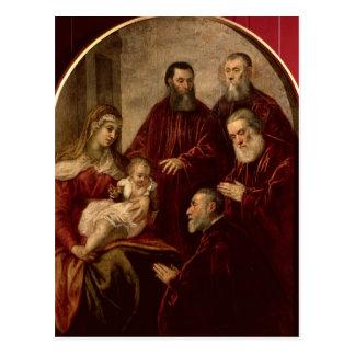 Madonna y niño con cuatro estadistas tarjeta postal