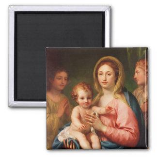 Madonna y niño con dos ángeles 1770-73 imán de nevera