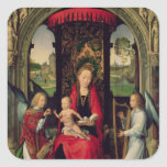Madonna y niño con dos ángeles calcomanías cuadradas personalizadas