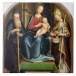 Madonna y niño con el abad y St. N de St Anthony Azulejo Ceramica