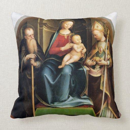 Madonna y niño con el abad y St. N de St Anthony Almohada
