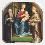 Madonna y niño con el abad y St. N de St Anthony Pegatinas Cuadradas