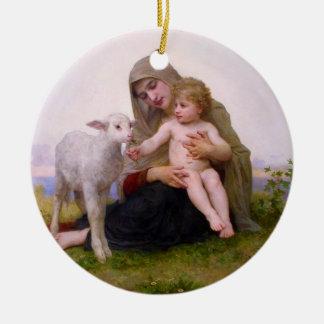 Madonna y niño con el ornamento del navidad del ornamente de reyes