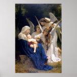 Madonna y niño con el poster de los ángeles póster