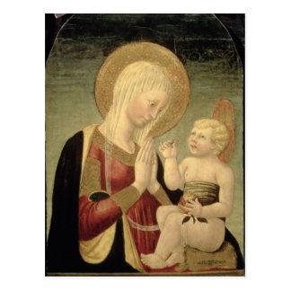 Madonna y niño con la granada postal