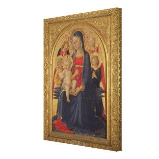 Madonna y niño con los ángeles, c.1467 (aceite en  impresión en lienzo