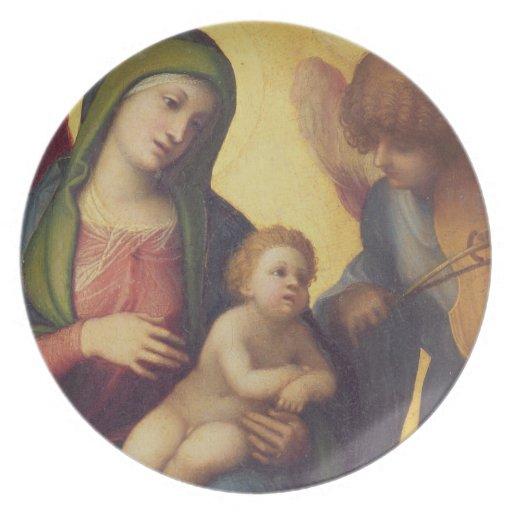 Madonna y niño con los ángeles c.1510-15 (aceite e plato de comida