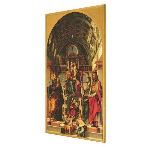 Madonna y niño con los santos, 1499 lona envuelta para galerías