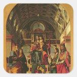 Madonna y niño con los santos, 1499 pegatina cuadrada