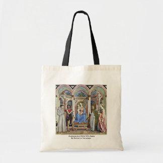 Madonna y niño con los santos bolsas de mano