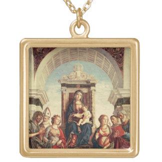 Madonna y niño con los santos colgante cuadrado