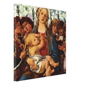Madonna y niño con ocho ángeles por Botticelli Impresiones De Lienzo