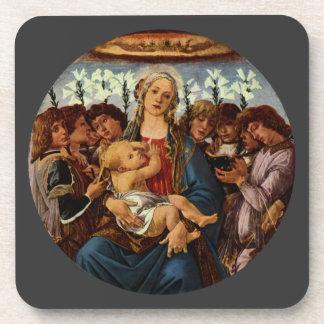 Madonna y niño con ocho ángeles por Botticelli Posavasos De Bebida