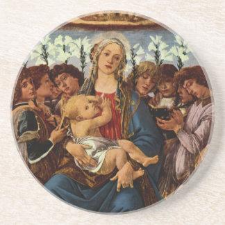 Madonna y niño con ocho ángeles por Botticelli Posavasos Diseño
