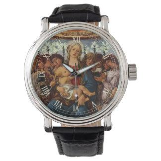 Madonna y niño con ocho ángeles por Botticelli Relojes De Mano