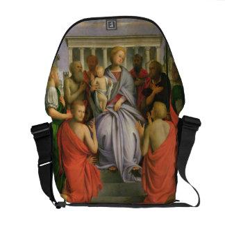 Madonna y niño con ocho santos, 1520s (genio bolsas de mensajería