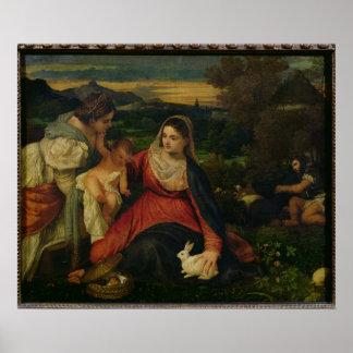 Madonna y niño con St. Catherine C. 1530 Poster