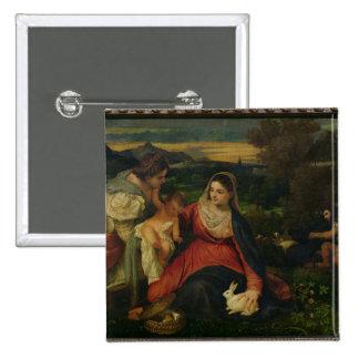 Madonna y niño con St. Catherine C. 1530 Pin Cuadrada 5 Cm