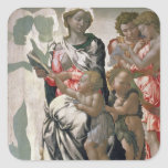 Madonna y niño con St. John, c.1495 Pegatina Cuadrada