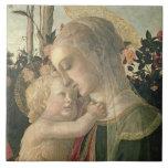 Madonna y niño con St. John el Bautista, detai Azulejo Cerámica