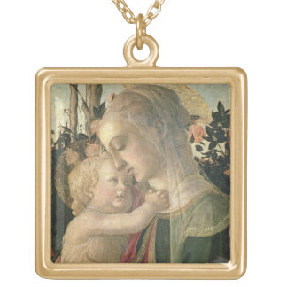 Madonna y niño con St. John el Bautista, detai Colgante Cuadrado