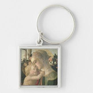 Madonna y niño con St. John el Bautista, detai Llavero Cuadrado Plateado