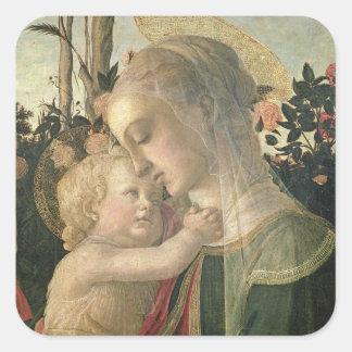 Madonna y niño con St. John el Bautista, detai Pegatina Cuadrada
