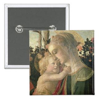 Madonna y niño con St. John el Bautista, detai Pin Cuadrado