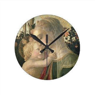 Madonna y niño con St. John el Bautista, detai Relojes De Pared