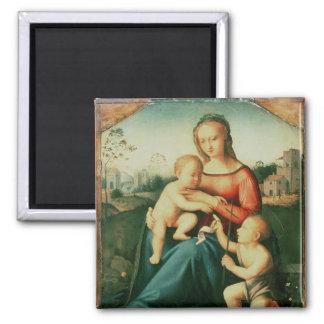 Madonna y niño con St. John el Bautista Imán Cuadrado