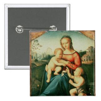 Madonna y niño con St. John el Bautista Pin Cuadrado